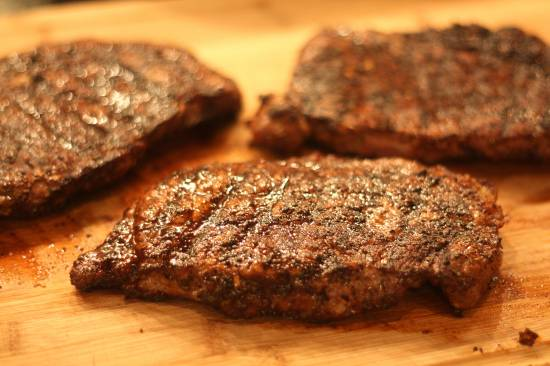 ribeye steaks with coffee-chili rub