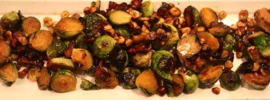 pan-roasted brussel spouts with maple bacon