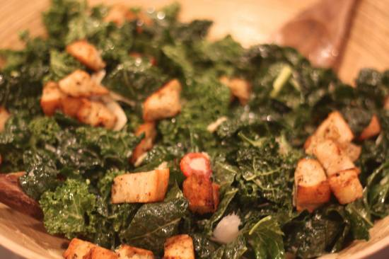 kale caesar salad with grilled fennel pollen-rubbed chicken