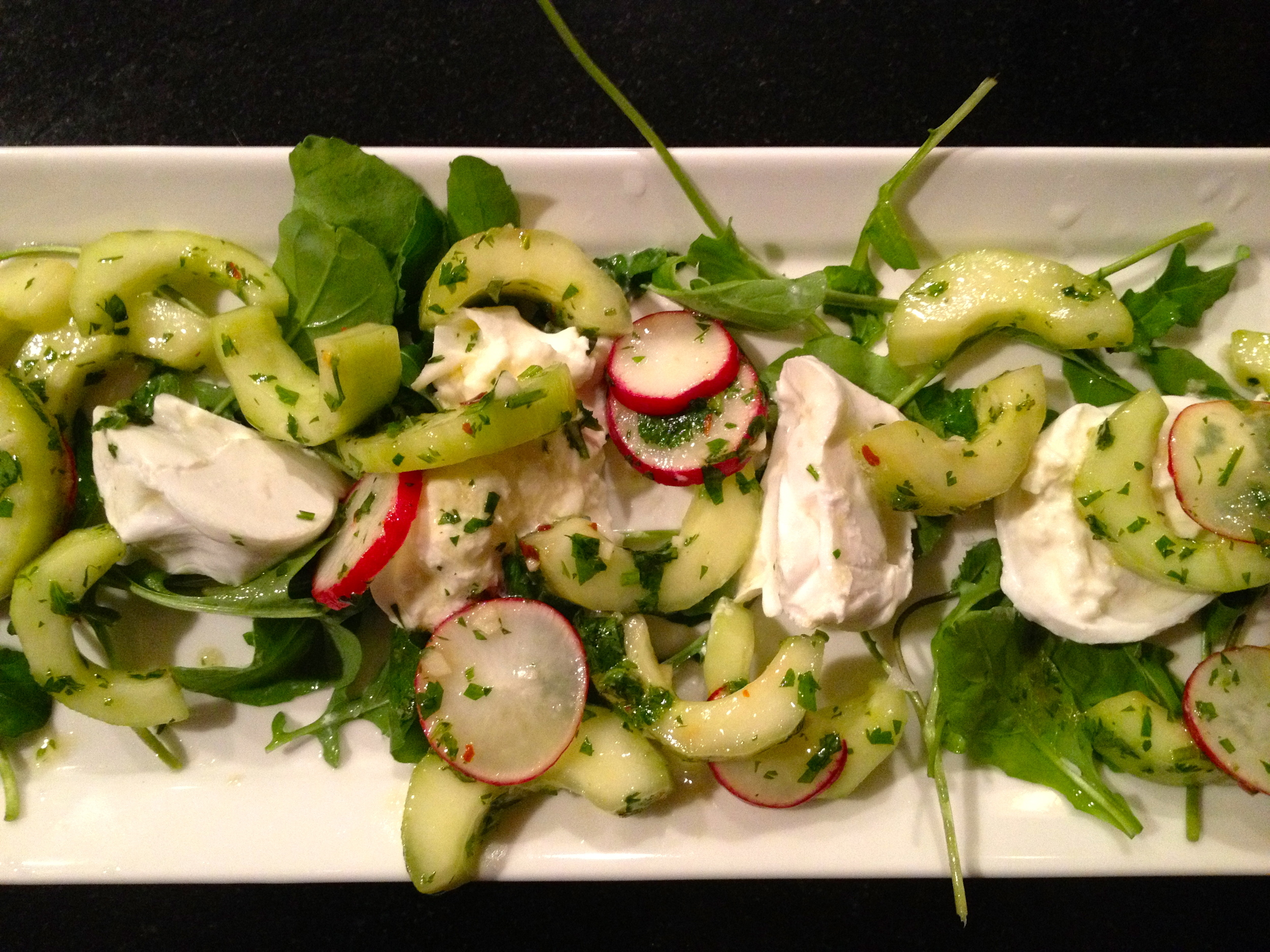 radish, cucumber and herb salad with burrata