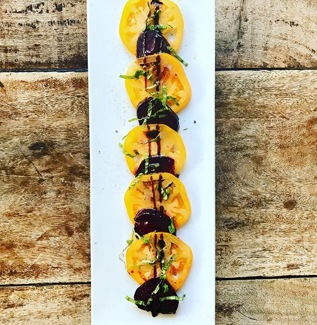 "'Tis the season. Heirloom tomatoes + garlic roasted beets + basil ""caprese"""