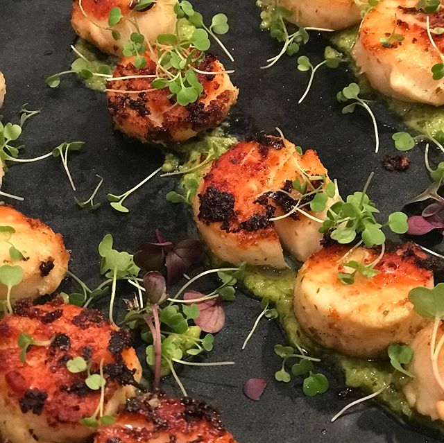 Macadamia nut pesto crusted seared scallops with spicy micro greens. 🍾