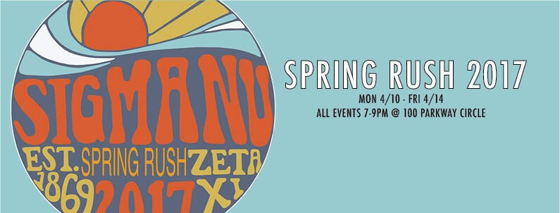 Interested in rushing? Spring rush starts Monday, April 10th. All events will be at 7pm at our chapter house located at 100 Parkway Circle, right across the street from the ARC.