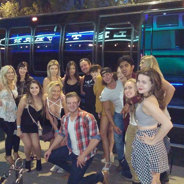 Jared of big brother Canada in front of our party bus at Knoxville's Tavern