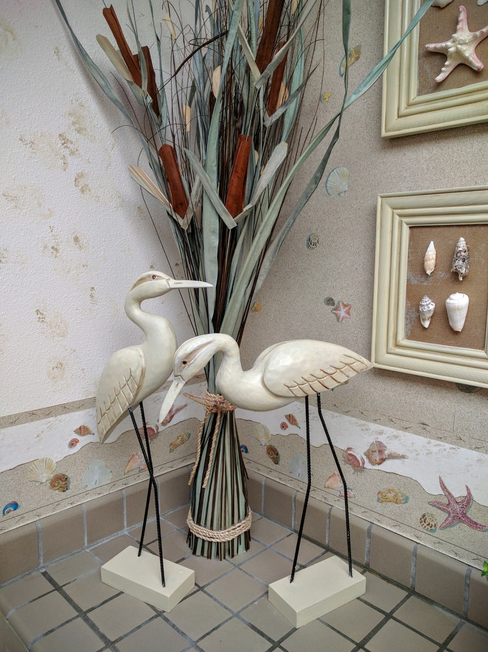 Birds of feather...when I found them, they were featureless and grey. A little bit of paint and stain fixed them right up!