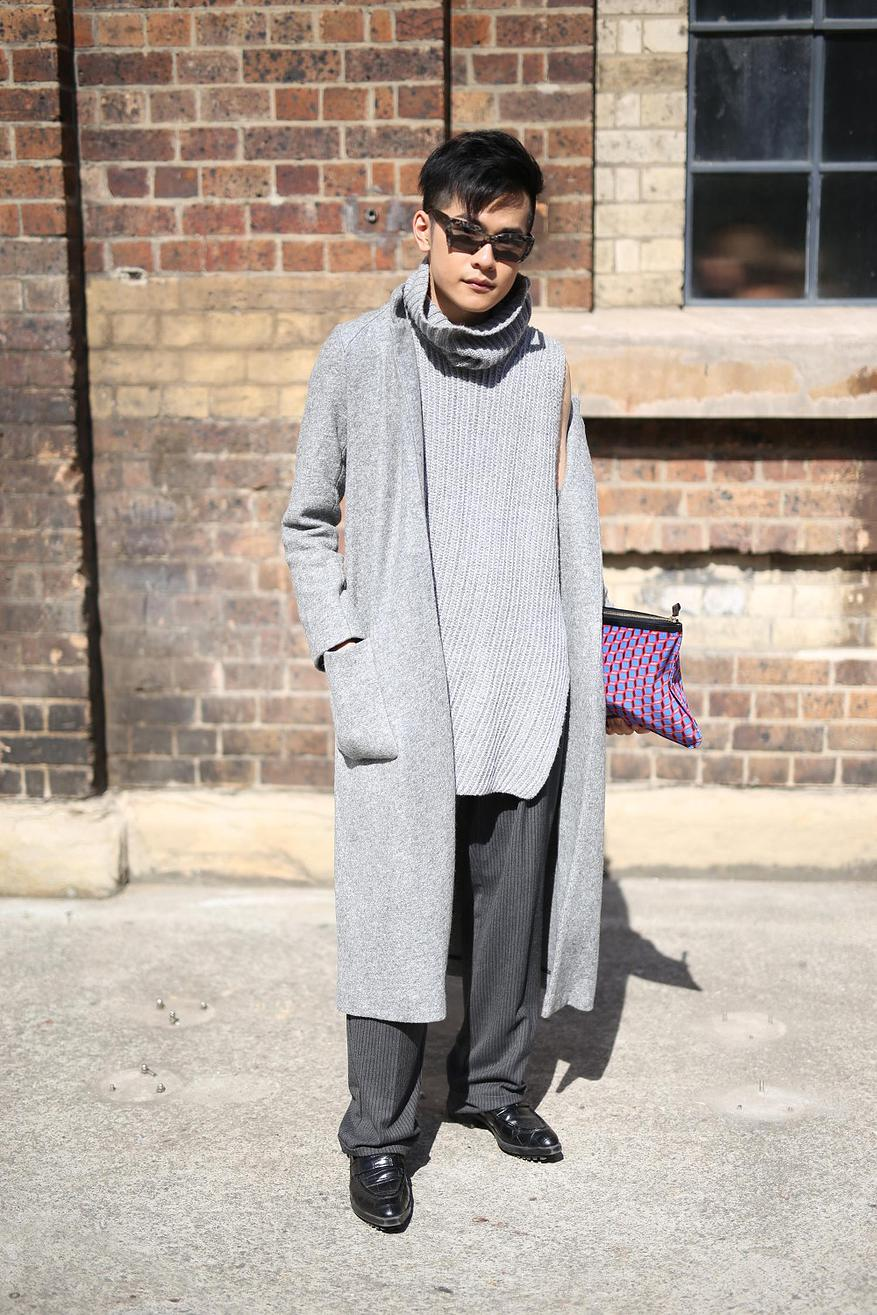 """Fashion has no gender""- Timothy Lo Stylist Timothy Lo wears Mui Mui Sunglasses, Pierre Hardy Clutch, Country Road Assymetic tunic, Coat. Loose fitted trousers and Shoes all from Zara"