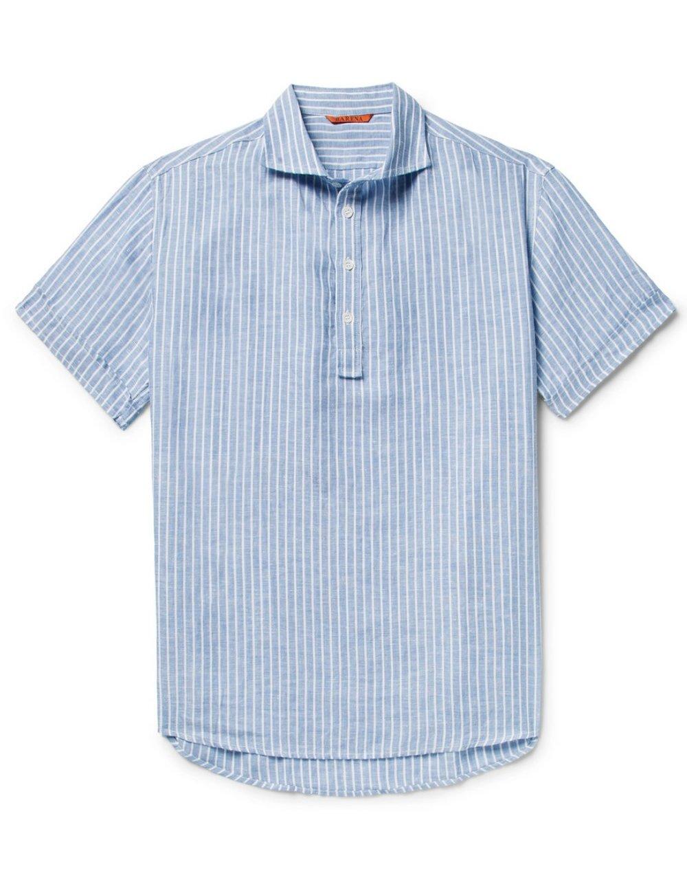 BARENAStriped linen polo shirt - MRPORTER.COM