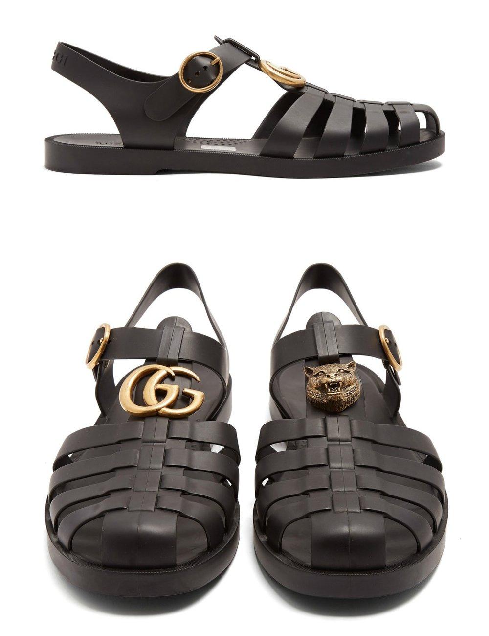 GUCCICaged GG-logo rubber sandals - MATCHESFASHION.COM