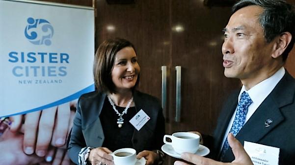 Taking tea with the Japanese Ambassador (Photo courtesy Nelson Mail).