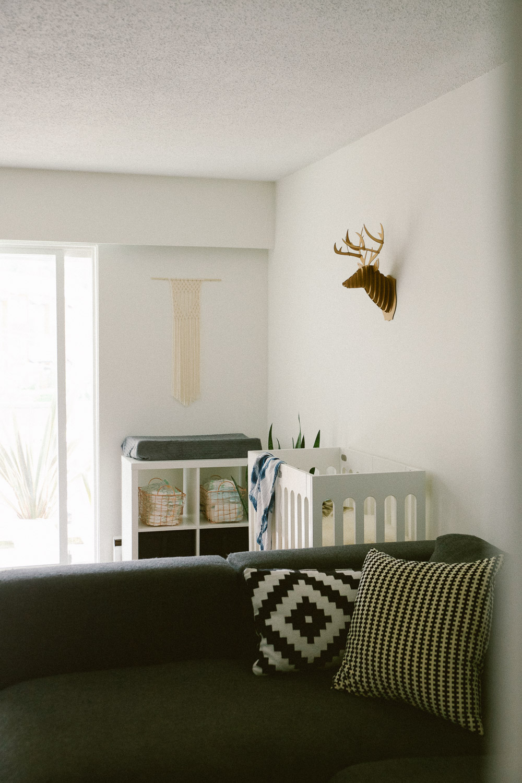 A Simple Minimal Nursery In The Living Room