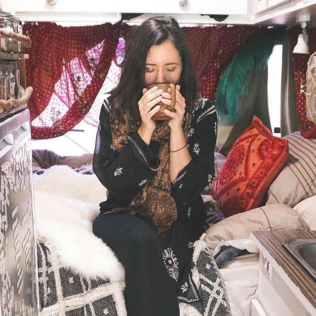 But first, coffee.☕️ Well tea, actually. . . . . #magdathemagicbus #homeonwheels #vanlifeinspiration #vanlifeinspo #vanlifejournal #bohemianlifestyle #vangirlsrule #vangrrrl #ThisisVanlifeing #VanlifeMagazine #CamperLifestyle #vanlifeexplorers #vanlifeideas #tinyliving #vanlifedistrict #vangoals #vancrush  #projectvanlife #vanlifeclub #vansweetvan #vanlifecontent #homeontheroad #vanlifedreams #vanlifeideas #magicbus #glamping #bohostyle #boholiving #buslifestyle #buslife