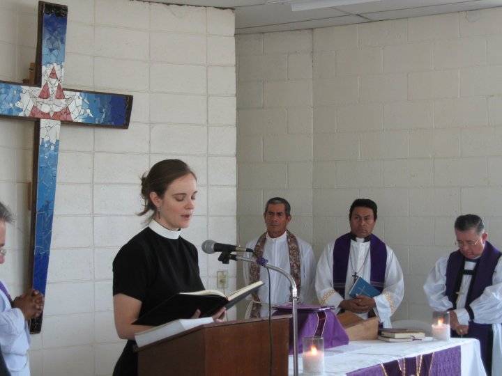 Board member, The Reverend Amy Denney Zuniga, reading at the Cristosal 10th Anniversary.