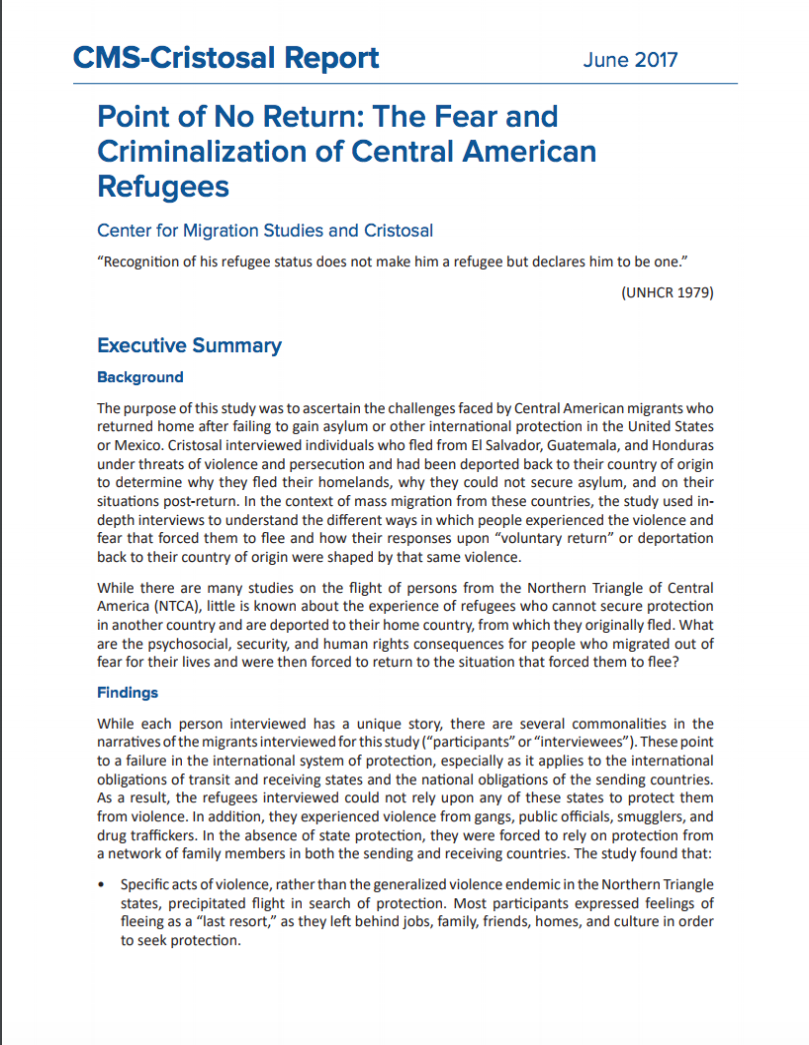 Point of no return: The fear and criminalization of Central American refugees