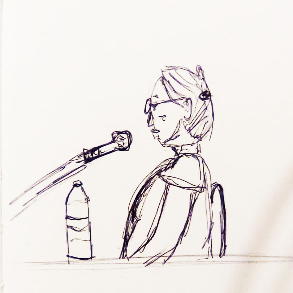 Drawing of María del Rosario López Sánchez testifying about the massacres in El Mozote and surrounding areas