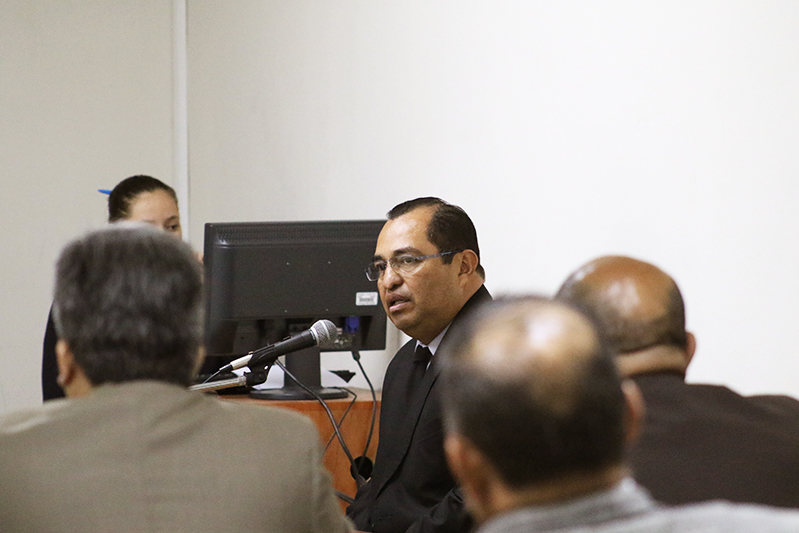 Colonel José Rolando Morales Belloso, Chief of Archive Personnel, at Friday's hearing. / Photo Cristosal