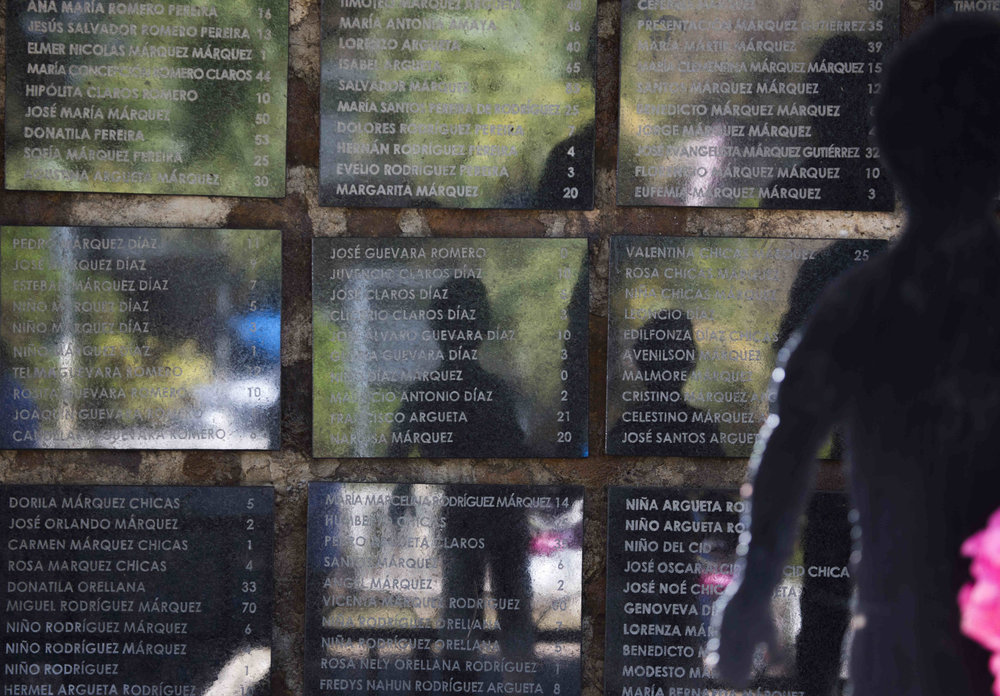 The El Mozote memorial, listing names and ages of victims. / Photo Cristosal