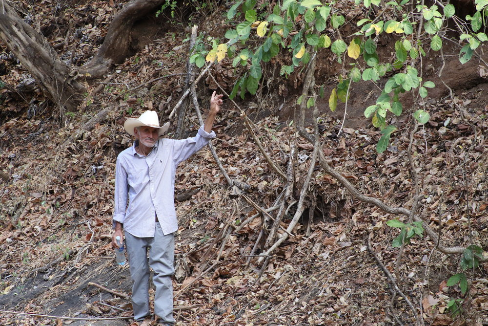 Massacre survivor Amado Carillo points out the place he saw soldiers shooting from. / Photo Cristosal