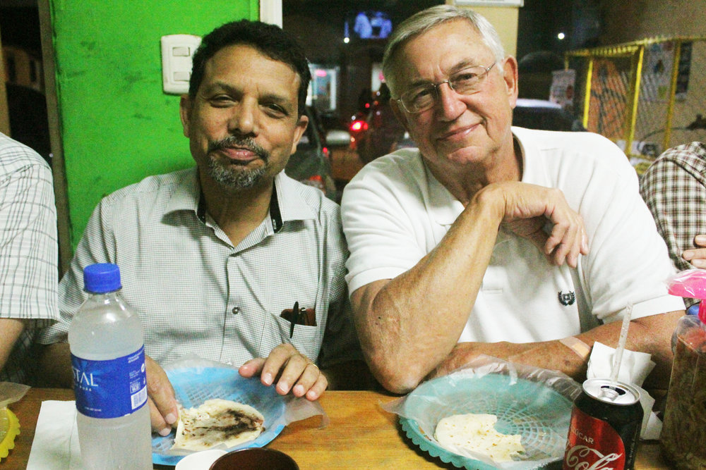 Gary Russell (right) and Koshi Mathews at Cristosal's October 2017 Global School seminar on Human Rights, Reconciliation, and Faith / Photo Cristosal