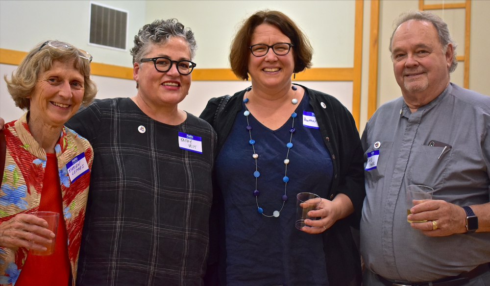 From left, Karen Lemnes, Foothills Congregational Church; Cristosal VP Kathy Veit and her partner, Heather Hadlock; and Cristosal Advocate the Rev. David Starr, Holy Family Episcopal, San Jose
