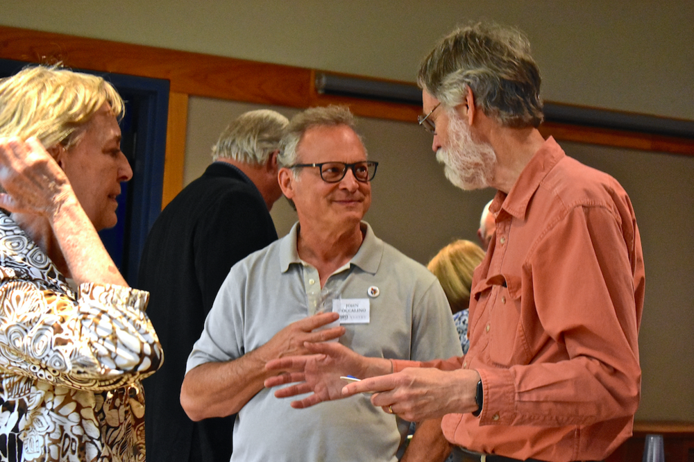 John Toccalino (center) talks with Gloria and Ken Van Bree at All Saints' Palo Alto Reception. John attended the Global School in April and arranged for Noah to speak at Google's Mountain View headquarters during his West Coast swing.