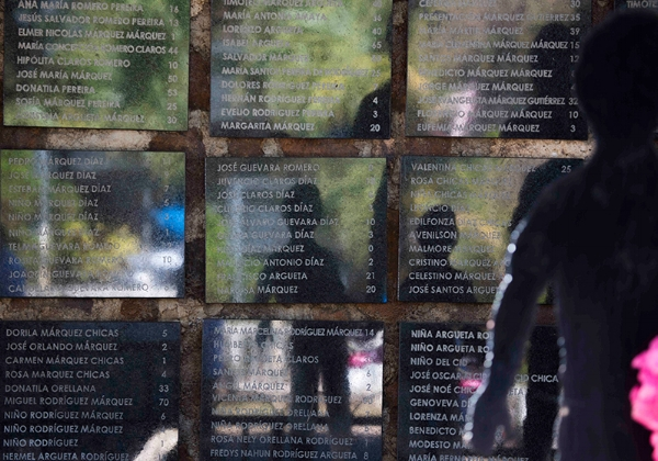 The El Mozote memorial, with the names and ages of the victims.