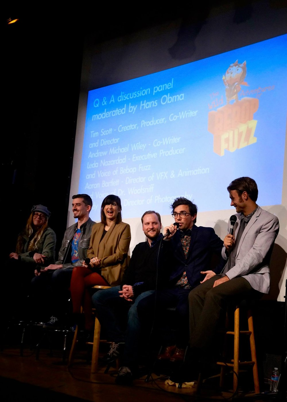 The team behind The Wild Adventure of Bebop Fuzz at the L.A. premiere at Art Share L.A., Winter 2014. Photo by Michelle Young.