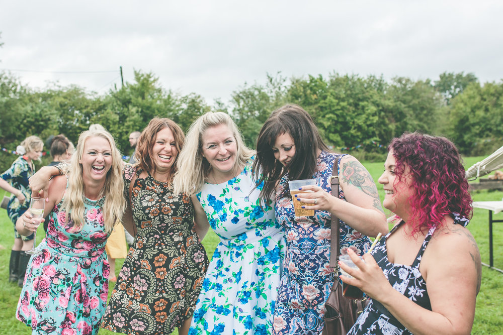 Girls having fun, informal wedding photography