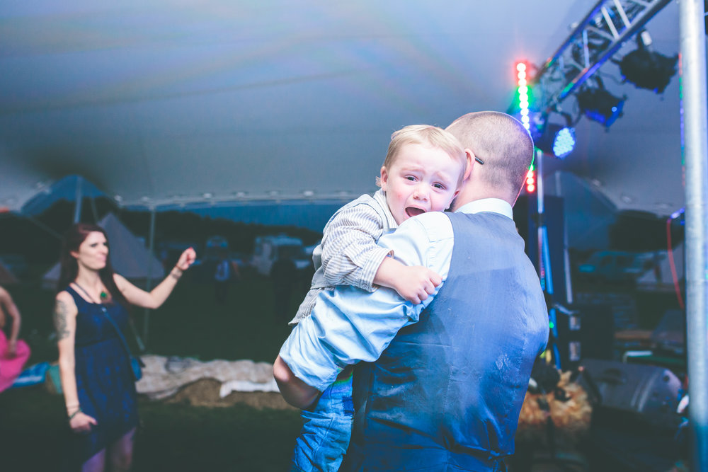 Tired little one, Clee Hill festival wedding