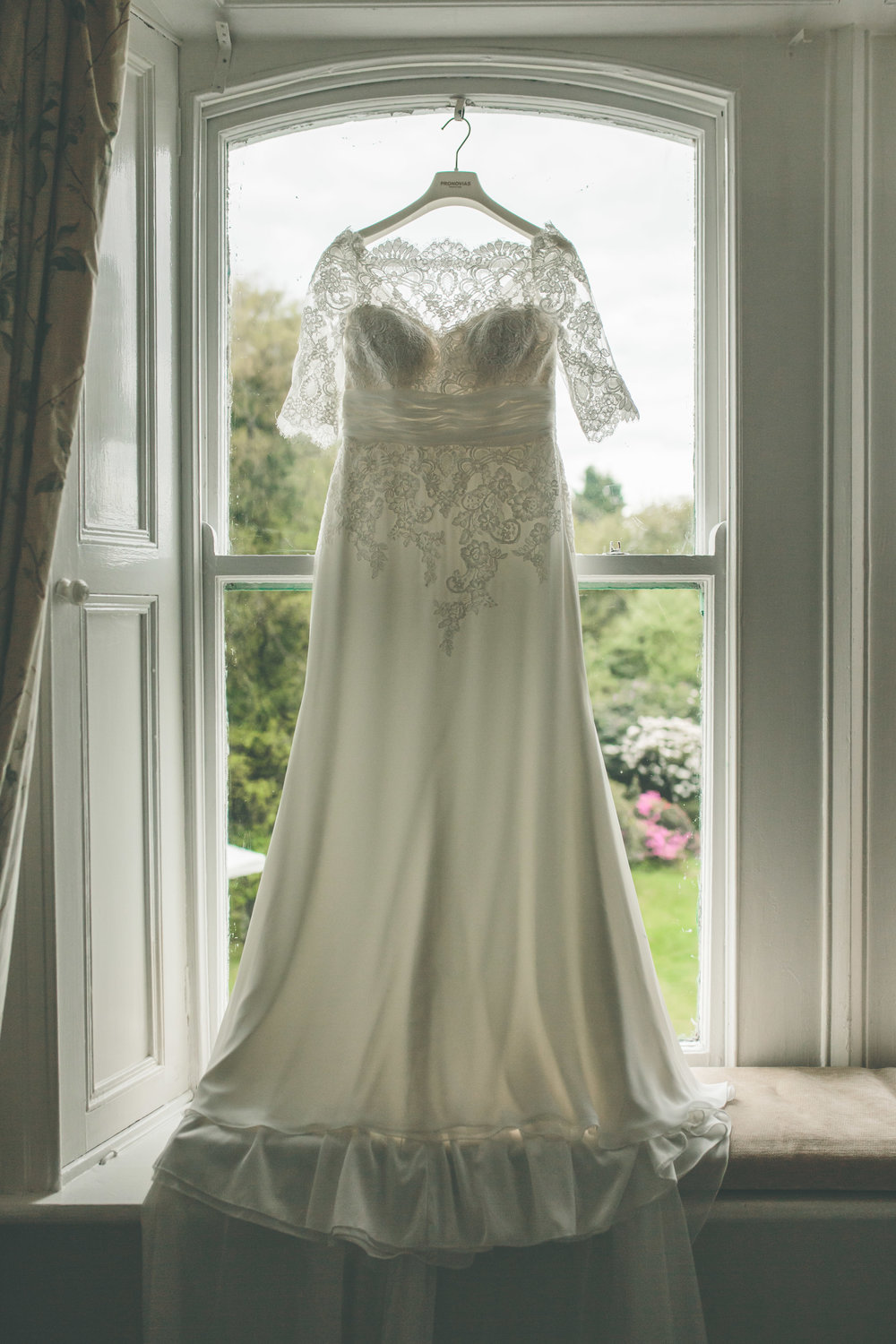 Wedding dress window, Cashel House Hotel photography