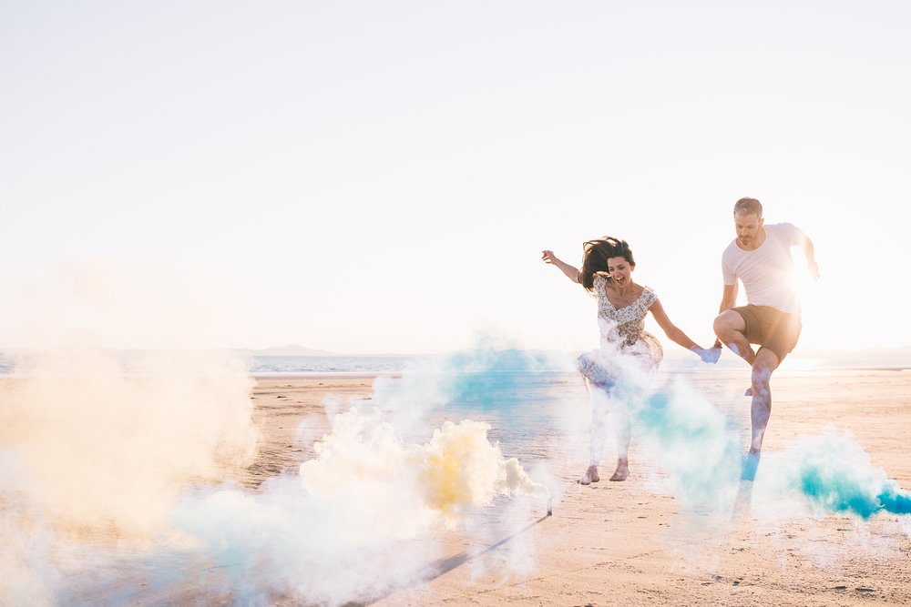 Coloured smoke bomb wedding photography