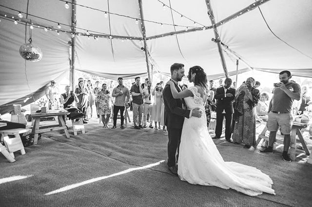 Don't be fooled by this picture - seconds later they were grinding and winding to @tarrusrileyja. I truly get the best couples! Amazing reception tipi by @wildtipi_sam.