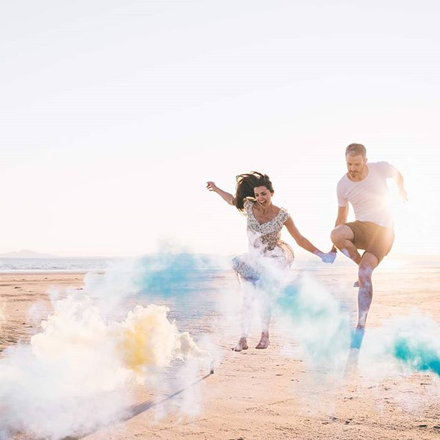 These two are getting married today, and they're just the BEST! Looking forward to scampering around the arboretum at @walcothall with them (and a few more smoke bombs). Playful couples FTW!!