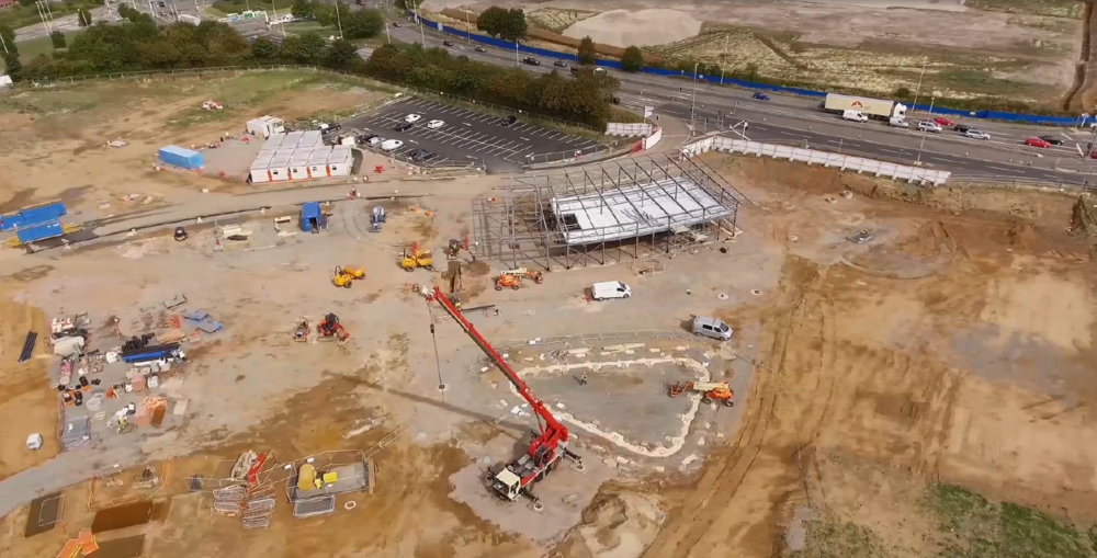 Meadows Progress August 2018 - Drone overview of Cycle centre and cafe foundations.png