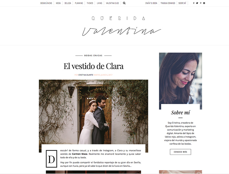 Querida Valentina La boda en hacienda Los Angeles de Clara y Javi en uno de los blogs más influyente del país.