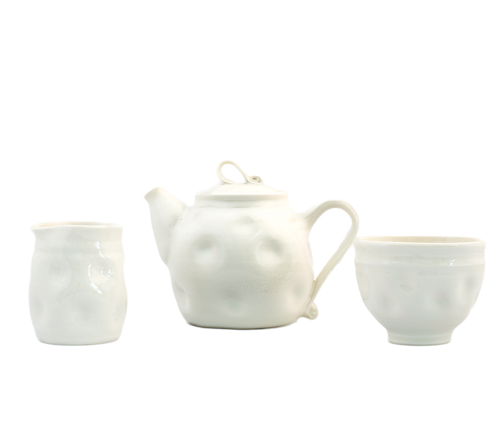 White dimple tea pot £50 Jug & bowl £30 each