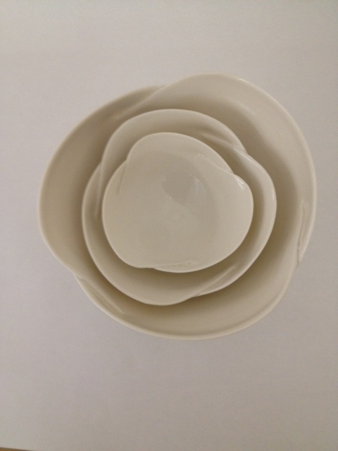 Set of 3 cut & folded bowls £125 (20cm,15cm,10cm)