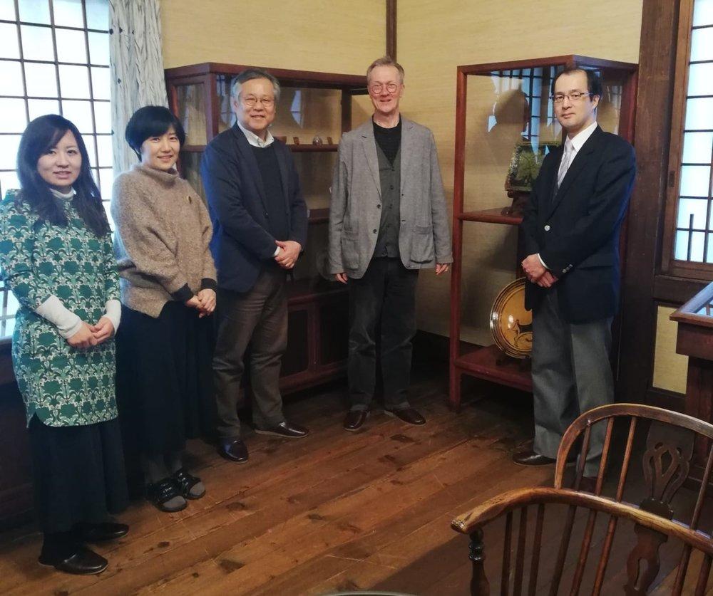 In the Leach Gallery of the Japan Folk Craft Museum. L-R: Yuko Matsuzaki, Mayumi Furuya, Takashi Sugiyama, Simon Olding and Dr Sadahiro Suzuki.