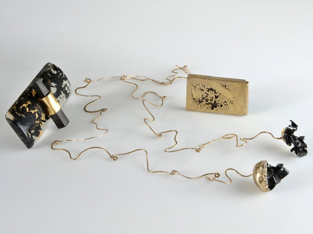 MIHAELA COMAN : JEWELLERY - CALLIGRAPHY RING, LETTERS NECKLACE AND SUMI STICK BOX