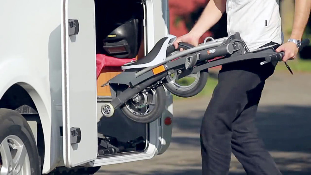 Great for motorhomes. There's no need to hang a bicycle on the back of your motorhome: Stigo easily fits inside. Use Stigo to widen your horizons after you've parked at your location.