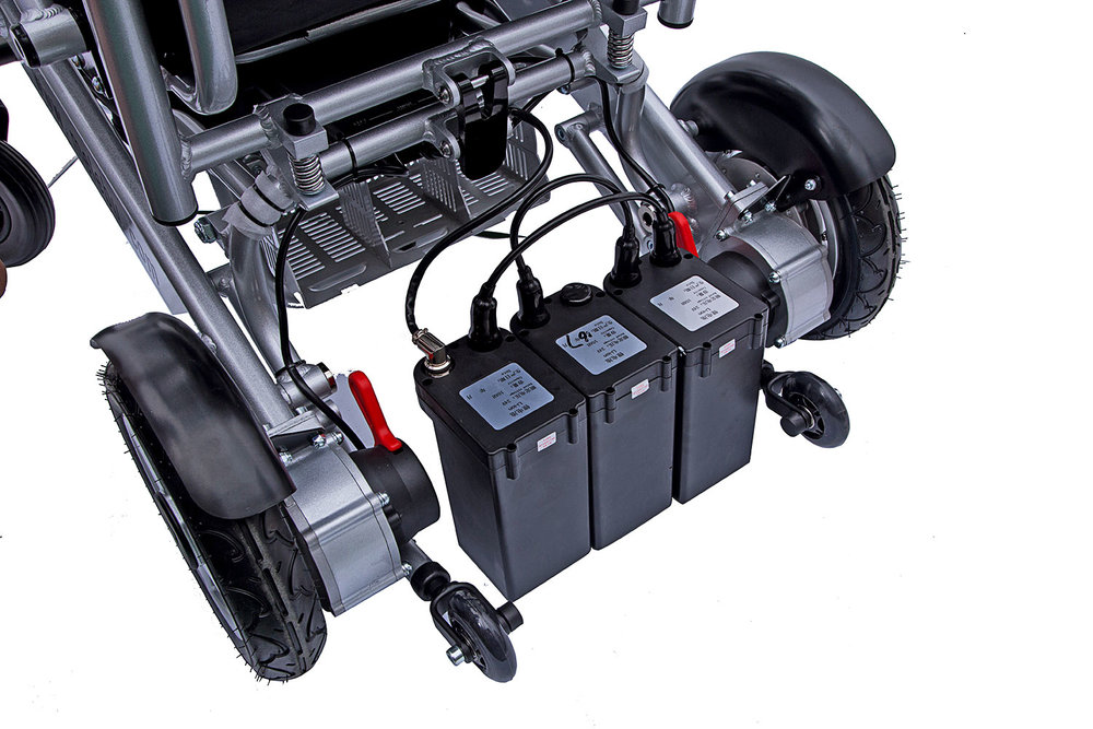 The chair can be fitted with 3 batteries to triple the useable range up to 27 miles.