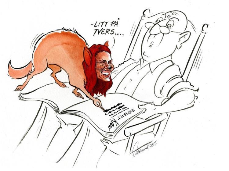 Tegning av Oddmund Mikkelsen i Hamar Arbeiderblad