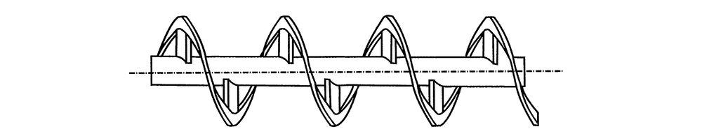 Transportskruv - Ekergänga  Lämplig för transport av material med varierande styckestorlek, samt vid utmatning ur materialfickor.