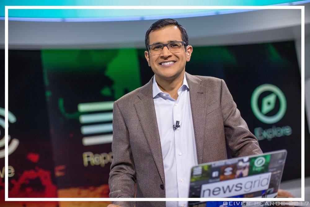 Presenting  newsgrid  from Studio 14 at Al Jazeera (Doha, 2017)