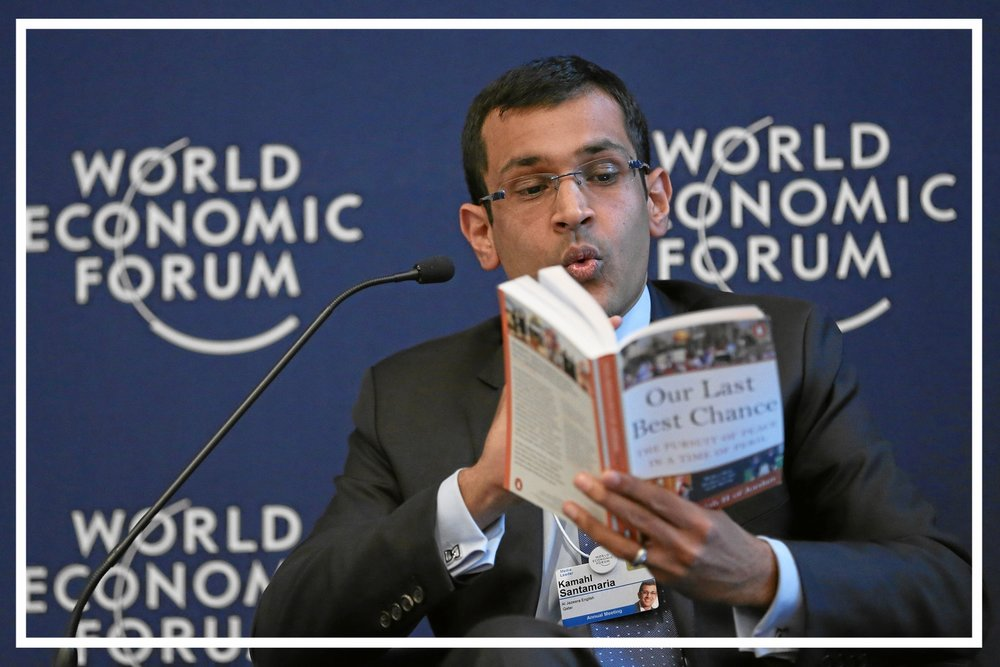 Moderating a panel at the World Economic Forum in Davos, 2013