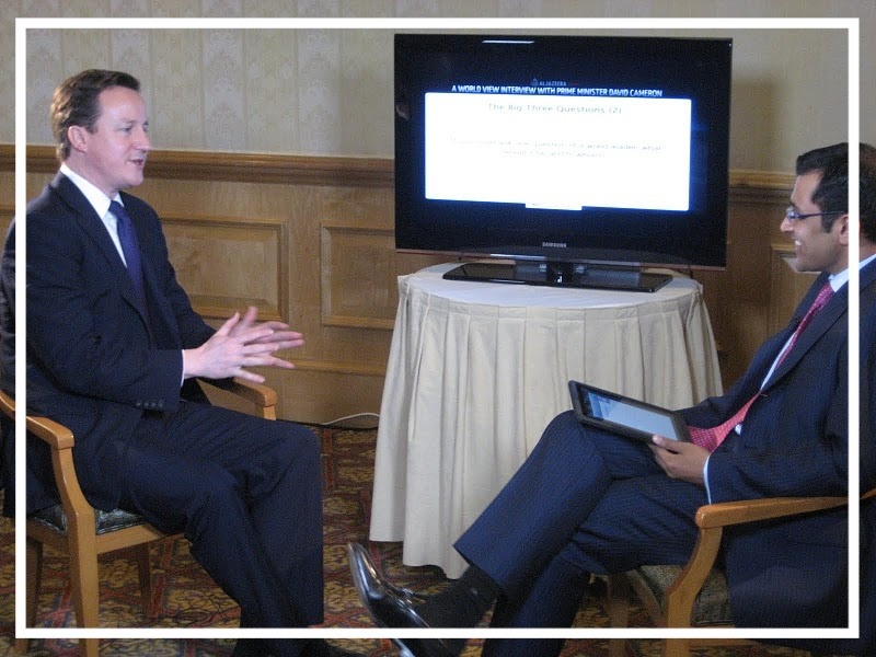Interviewing former UK Prime Minister David Cameron (Muscat, 2011)