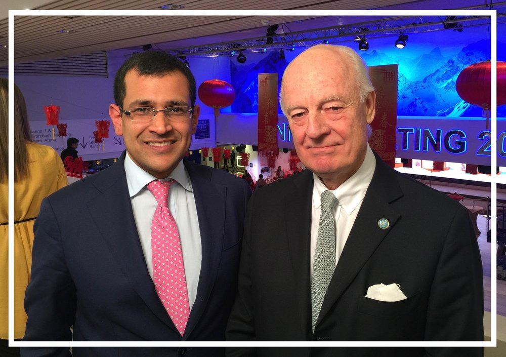 With UN Special Envoy to Syria Staffan de Mistura in Davos, 2016