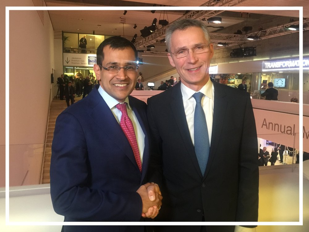 With NATO Secretary-General Jens Stoltenberg in Davos, 2016