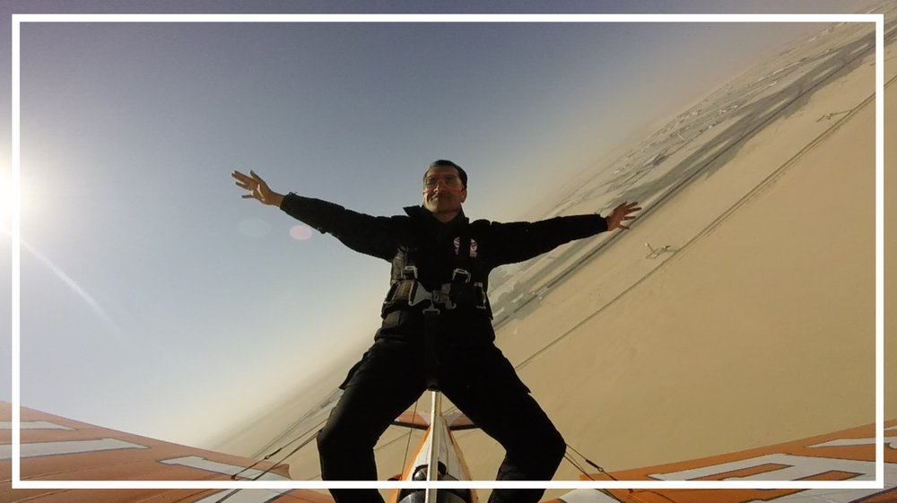 Flying with the Breitling Wingwalkers at the Dubai Air Show (Dubai, 2015)