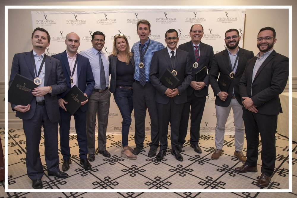 With fellow 2018 International Emmy nominees from Sky News, RT, and Globonews (New York, 2018)