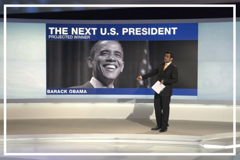 Announcing Senator Barack Obama as the next President of the United States (2008)